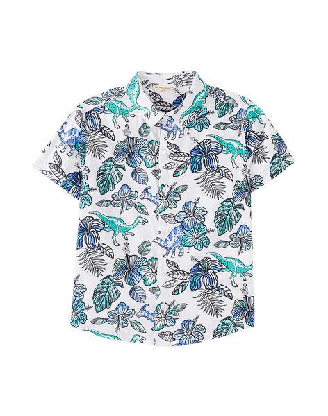 Camicia in popeline bambino bianca con stampa dinosauro JOQUASHIRT / 20S902R1CHM000