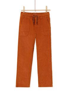 Pantaloni con elastico in vita e tasche marroni bambino KOGOPAN1 / 20W902L2PANI806