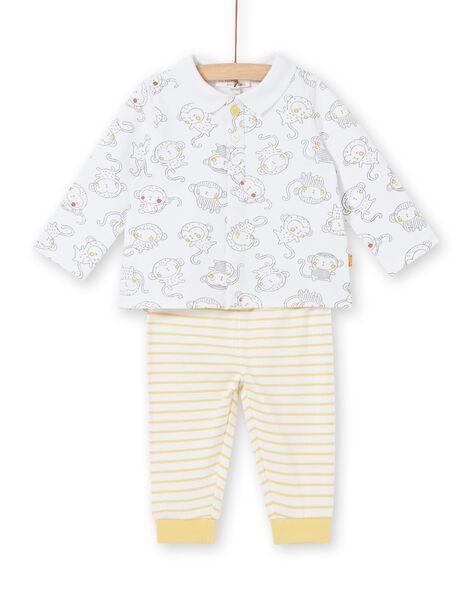Completo polo maniche lunghe stampa scimmia e leggings a righe neonato  LOU1ENS3 / 21SF04H1ENS000