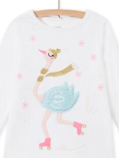 Set pigiama ecrù in velluto con motivo cigno bambina MEFAPYJOST / 21WH1195PYJ001