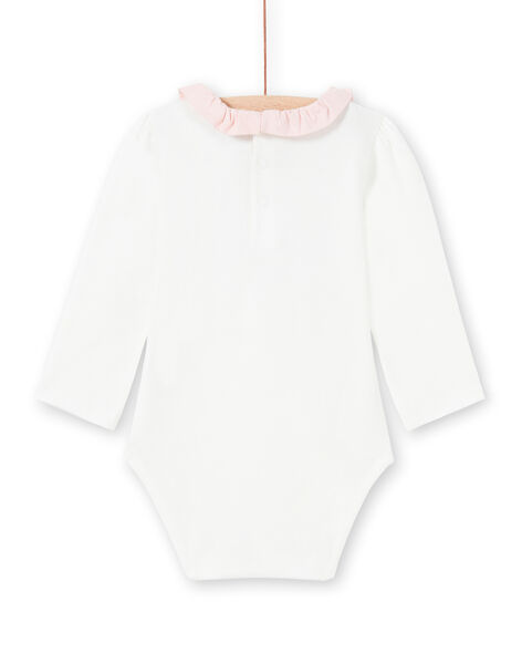 Body maniche lunghe ecrù con stampa colletto con volant neonata MOU1BOD4 / 21WF0341BOD001