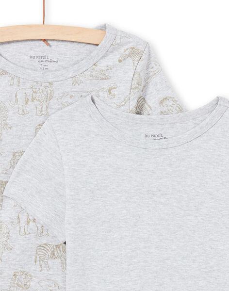 Set 2 t-shirt maniche corte abbinate grigio chiaro cane bambino MEGOTELSAV / 21WH12B1HLIA010