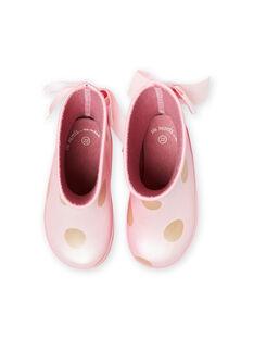 Stivali da pioggia rosa a pois dorati neonata MIPLUIPOIS / 21XK3712D0C321