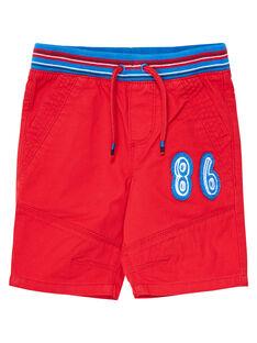Bermuda elasticizzati rossi bambino con cintura a righe JOGRABER1 / 20S902E1BERF505