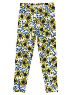 Leggings bambina con fiori blu e gialli JYATROLEG2 / 20SI01F2CAL001