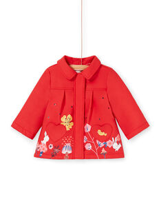 Impermeabile con cappuccio rosso bambina LIHAIMP / 21SG09R1IMP505