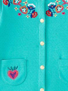Cardigan in maglia a pointelle turchese neonata JIMARCAR / 20SG09P1CAR310
