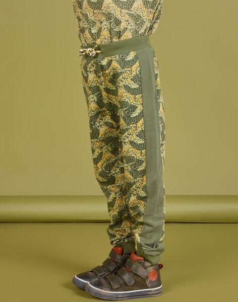 Pantaloni sportivi kaki con stampa leopardata bambino MOKAJOG2 / 21W902I2JGB612