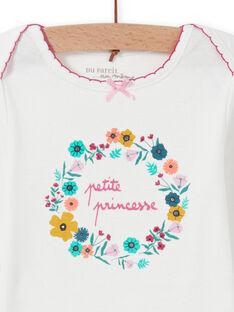 Body bianco motivo corona di fiori neonata MEFIBODPRI / 21WH13C4BDL001