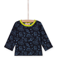 T-shirt double face nera stampa spazio neonato MUPLATEE2 / 21WG10O1TMLC243