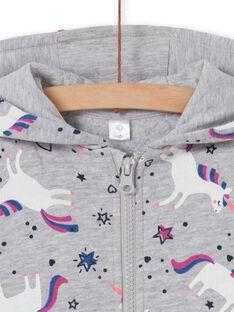 Felpa con cappuccio grigio melange con stampa unicorno LAJOHOJOG1 / 21S90141D33943