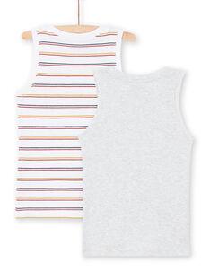 Set 2 canottiere bianco e grigio con motivi assortiti bambino MEGODELDINO / 21WH12B2HLI000