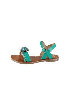 Sandali da città in pelle e pelle iridescente FFSANDLO / 19SK35D6D0E202