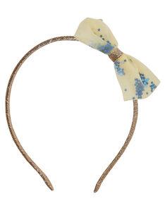 Cerchietto di glitter con fiocco in tulle giallo + piccole paillettes blu all'interno del tulle. JYASOSERR / 20SI0181TETK008