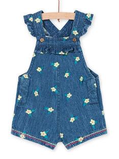 Salopette in jeans blu scuro con stampa a fiori neonata LIVERSAL / 21SG09Q1SALP274