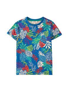 T-shirt bambino blu oceano con stampa foglie tropicali JOSAUTI4 / 20S902Q3TMC707