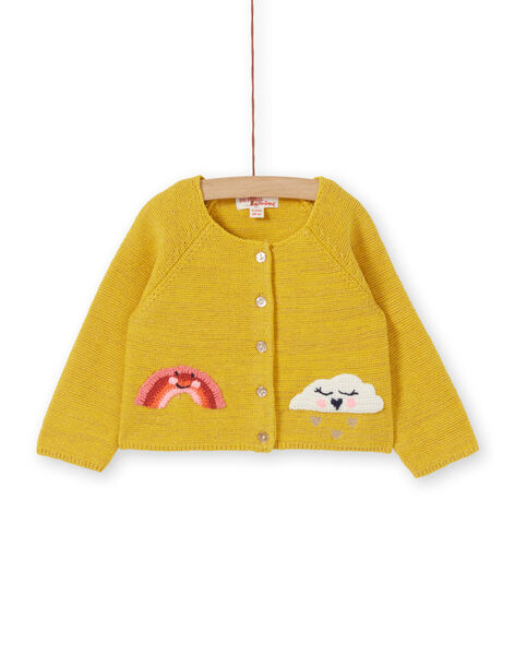 Cardigan in maglia gialla e lurex neonata LINAUCAR1 / 21SG09L2CAR106