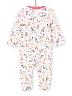 Tutina ecrù con stampa animali, arcobaleno e corone colorate neonata MEFIGREANI / 21WH1333GRE001