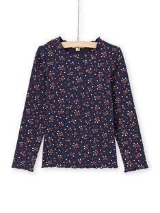 T-shirt navy stampa a fiori bambina MAJOUTEE6 / 21W90121TMLC205