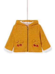 Cardigan con cappuccio senape neonato KIREVEST / 20WG09J1VES107