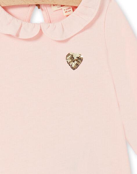 T-shirt rosa in cotone neonata LIJOBRA2 / 21SG0931BRAD326