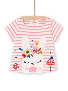 T-shirt rosa e bianca a righe neonata LIHATEEX / 21SG09X1TMC001