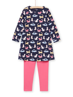 Set pigiama camicia da notte e leggings navy e rosa bambina MEFACHUCAT / 21WH1181CHN070