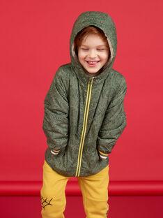 Giubbotto con cappuccio kaki e giallo stampa animali bambino LOGROBLOU1 / 21S902R1BLO612