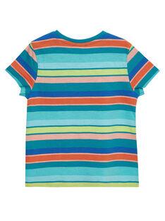 T-shirt bambino maniche corte a righe turchese multicolore JOMARTI4 / 20S902P4TMCC242