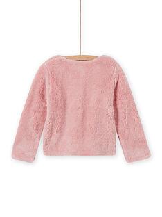 Cardigan double face rosa chiaro in finta pelliccia bambina MAJOCARF3 / 21W90112CAR312