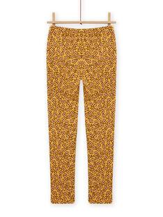 Pantaloni imbottiti gialli con stampa a fiori bambina MASAUPANT1 / 21W901P2PANB107