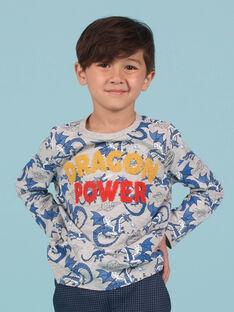 T-shirt grigio melange e blu stampa drago bambino MOPLATEE1 / 21W902O2TMLJ922