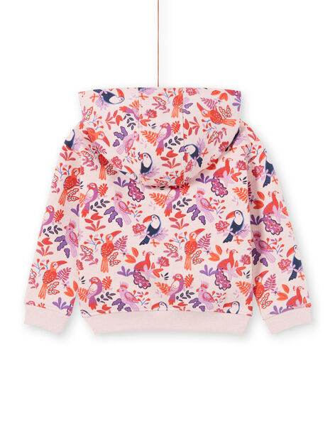 Felpa con cappuccio rosa e viola stampa pappagalli e a fiori bambina MAJOHAUJOG3 / 21W90113JGHD314