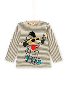 T-shirt sabbia e nera a righe con motivo cane in cotone bambino LOPOETEE / 21S902Y1TML808
