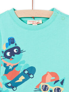 T-shirt turchese con motivi gatti sui skate neonato MUTUTEE2 / 21WG10K1TML209