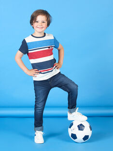 T-shirt grigio melange e blu a righe bambino LOHATI2 / 21S902X1TMCJ920