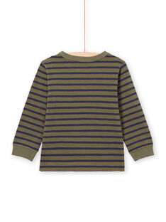 T-shirt maniche lunghe a righe kaki e navy bambino MOJOTIRIB3 / 21W90225TMLG631
