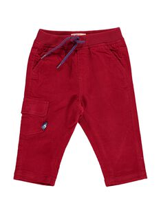 Baby boys' red velour trousers DUJOPAN6 / 18WG1036PAN510