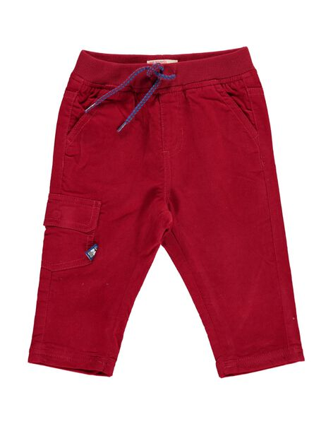 Baby boys' red velour trousers DUJOPAN6 / 18WG1036PAN510