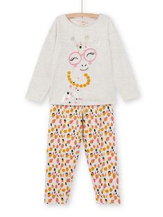 Pigiama beige bambina in tessuto felpato grattato motivo giraffa LEFAPYJGIR / 21SH1113PYJ006