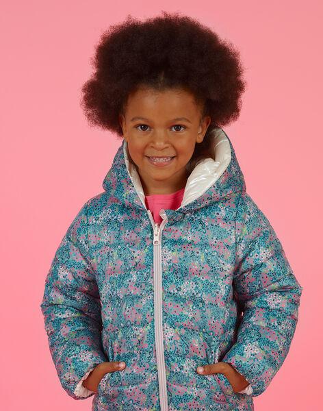 Piumino double face con cappuccio e stampa a fiori bambina MAKADOUNE / 21W90152D3E612