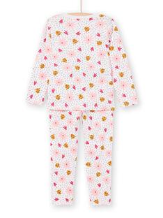 Pigiama bambina a costine rosa stampa pantere e fiori LEFAPYJRIB / 21SH1158PYJ321
