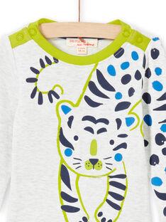 Body ecrù melange e verde neonato MUKABOD / 21WG10I1BOD006