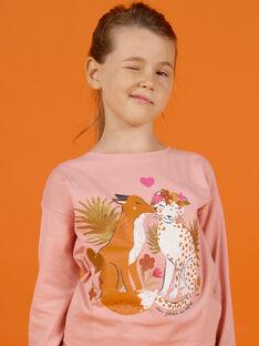 T-shirt a maniche lunghe rosa con motivi volpe e leopardo bambina MASAUTEE3 / 21W901P3TML303