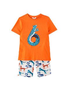 Completo da spiaggia bambino t-shirt rossa e bermuda con stampa grigio melange pantera JOPLAENS5 / 20S902X5ENS406