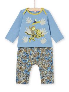 Completo T-shirt e pantaloni con motivi animali della giungla bambino MUKAENS / 21WG10I1ENS020