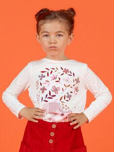 T-shirt maniche lunghe double face motivo ciliegie bambina MACOMTEE1 / 21W901L1TML001