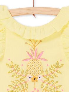 Abito giallo con ricamo giraffe e foglie LAJAUROB4 / 21S901O3ROB116