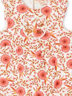 Tuta ecrù e rosa con motivi a fiori neonata LINAUCOMB / 21SG09L1CBL001