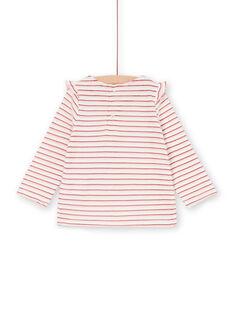 T-shirt rossa e bianca a righe Lurex® neonata LICANTEE / 21SG09M1TML001